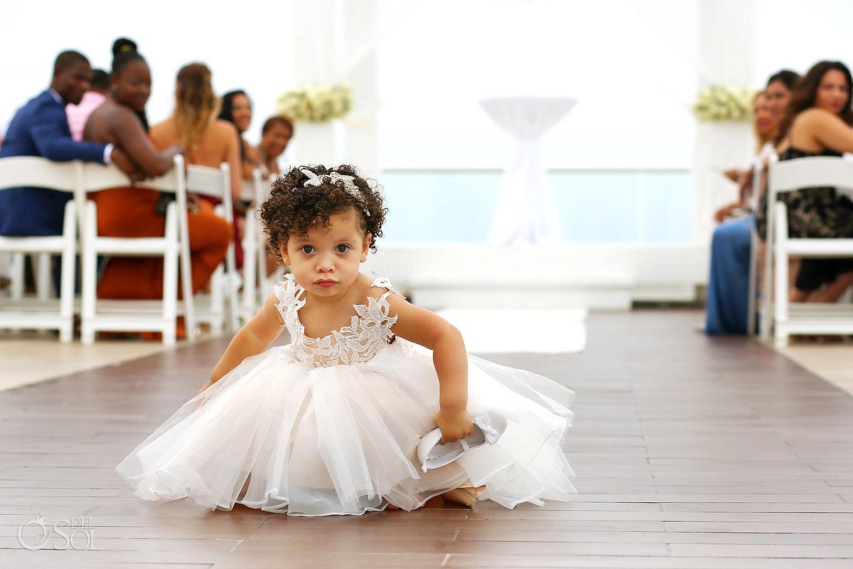 Documentary Portrait Flower Girl Playing Entrance Hall Azul Fives Wedding