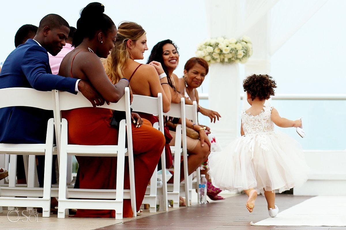 Fun Documentary Photography Flower Girl Running Playing Entrance Hall Azul Fives Wedding
