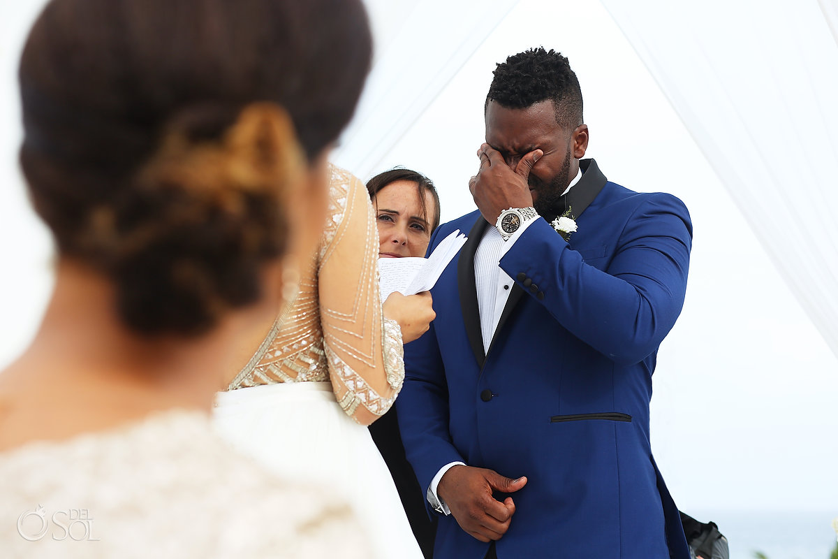 Emotional Groom Moment Bride Reads Vows Ceremony Sky Terrace Azul Fives Wedding A Suit That Fits