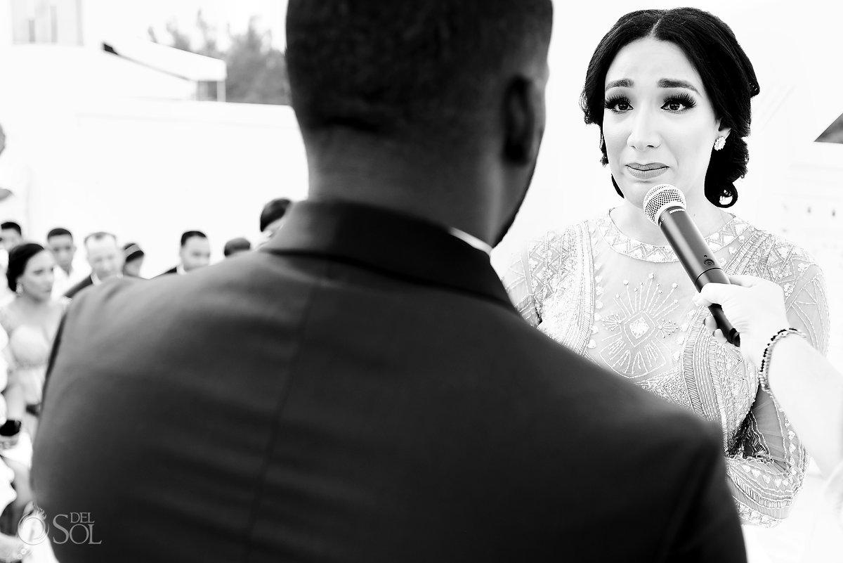 Black white Emotional Bride Moment Reading Vows Ceremony Sky Terrace Azul Fives Wedding
