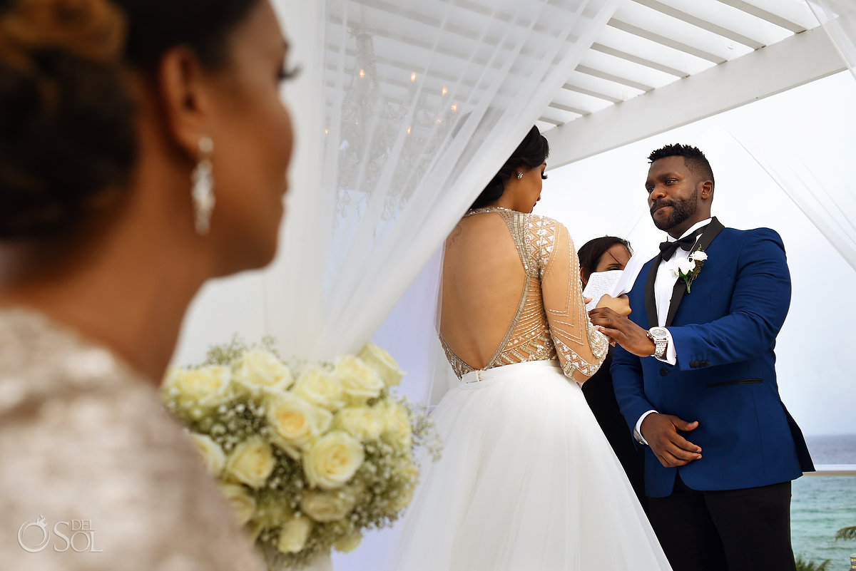 Emotional Groom Bride Reading Vows Moment SkyTerrace Azul Fives Wedding A Suit That Fits