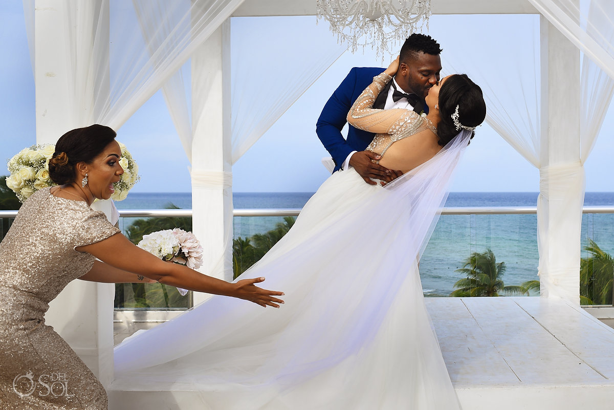 Azul Fives Wedding Funny First Kiss L'Fay Bridal Tulle Embroidered Sparkling Stones Long Vail Groom wearing A Suit That Fits