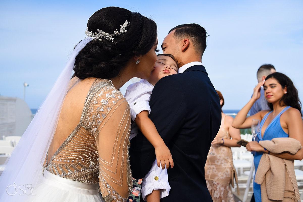 Azul Fives Wedding Sky terrace bride and baby son kiss