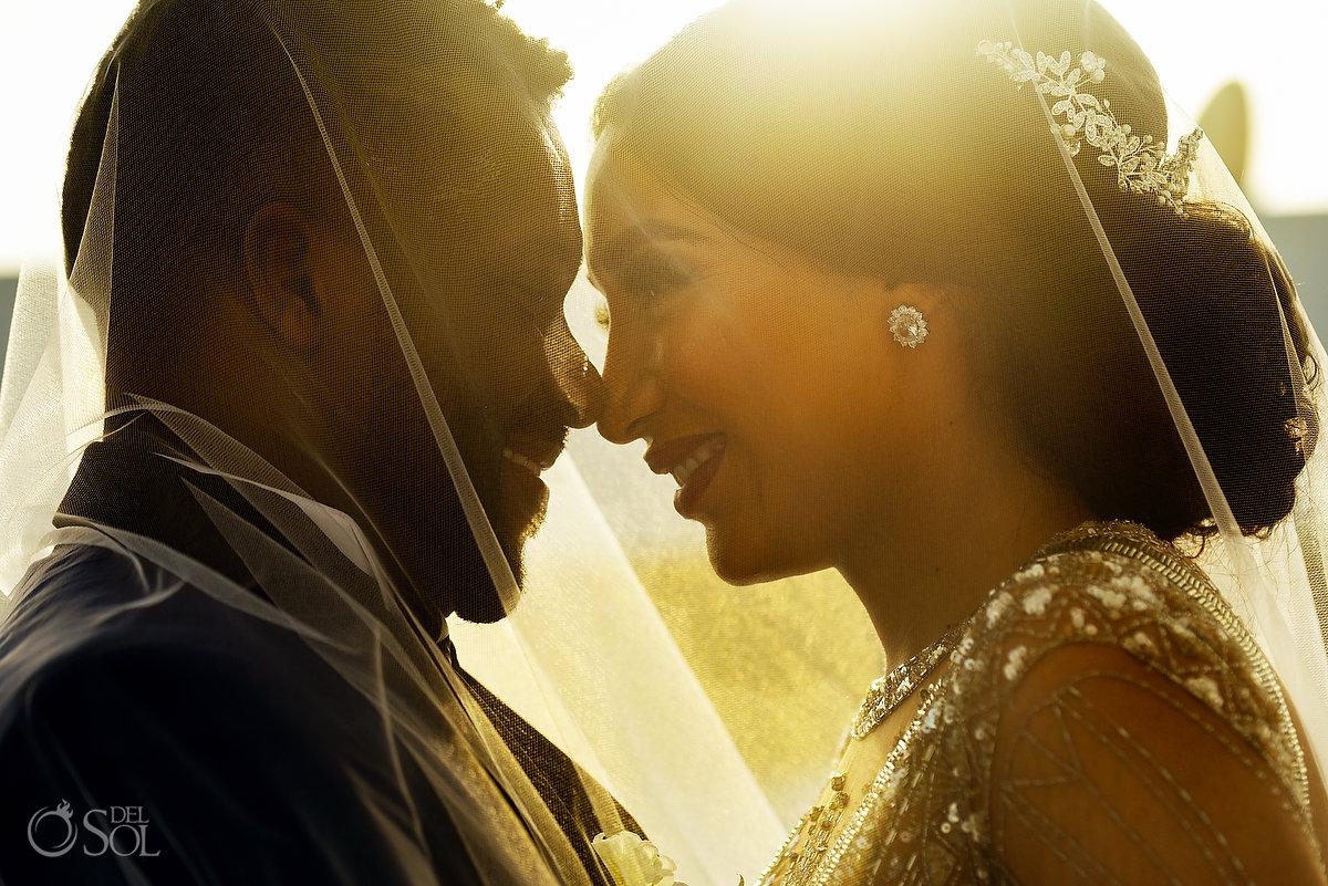 Artistic Newlyweds Portrait Under Long Tulle Vail Golden Light Playa del Carmen Wedding Destination Azul Five