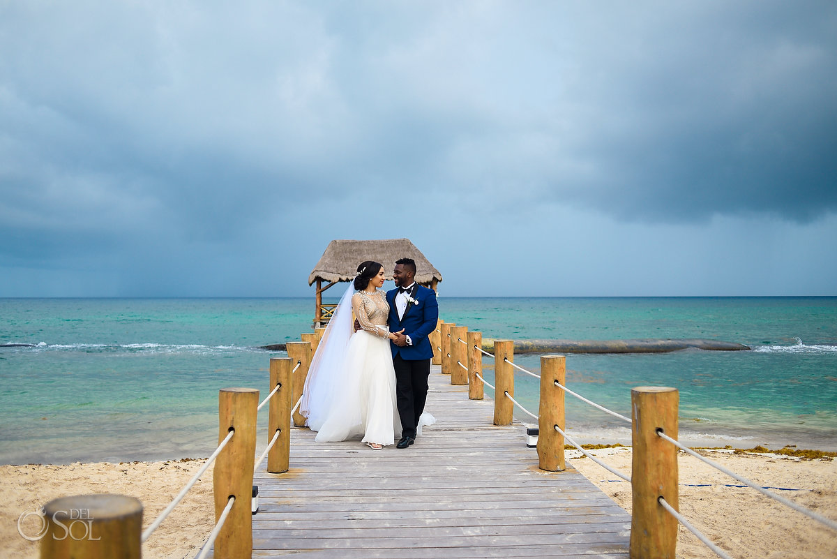 Wedding Destination Playa del Carmen Azul Five Newlyweds Pier Photo Session Bride L'Fay Bridal Tulle Transparencies Embroidered Sparkling Stones Long Vail