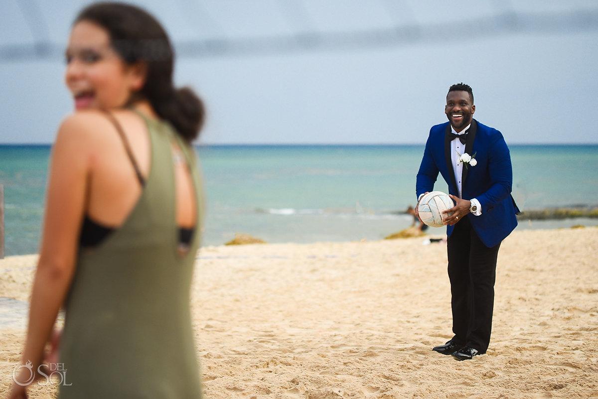 Documentary Fun Groom Playing Beach Volleyball Azul Fives Wedding Destination Playa del Carmen A Suit That Fits