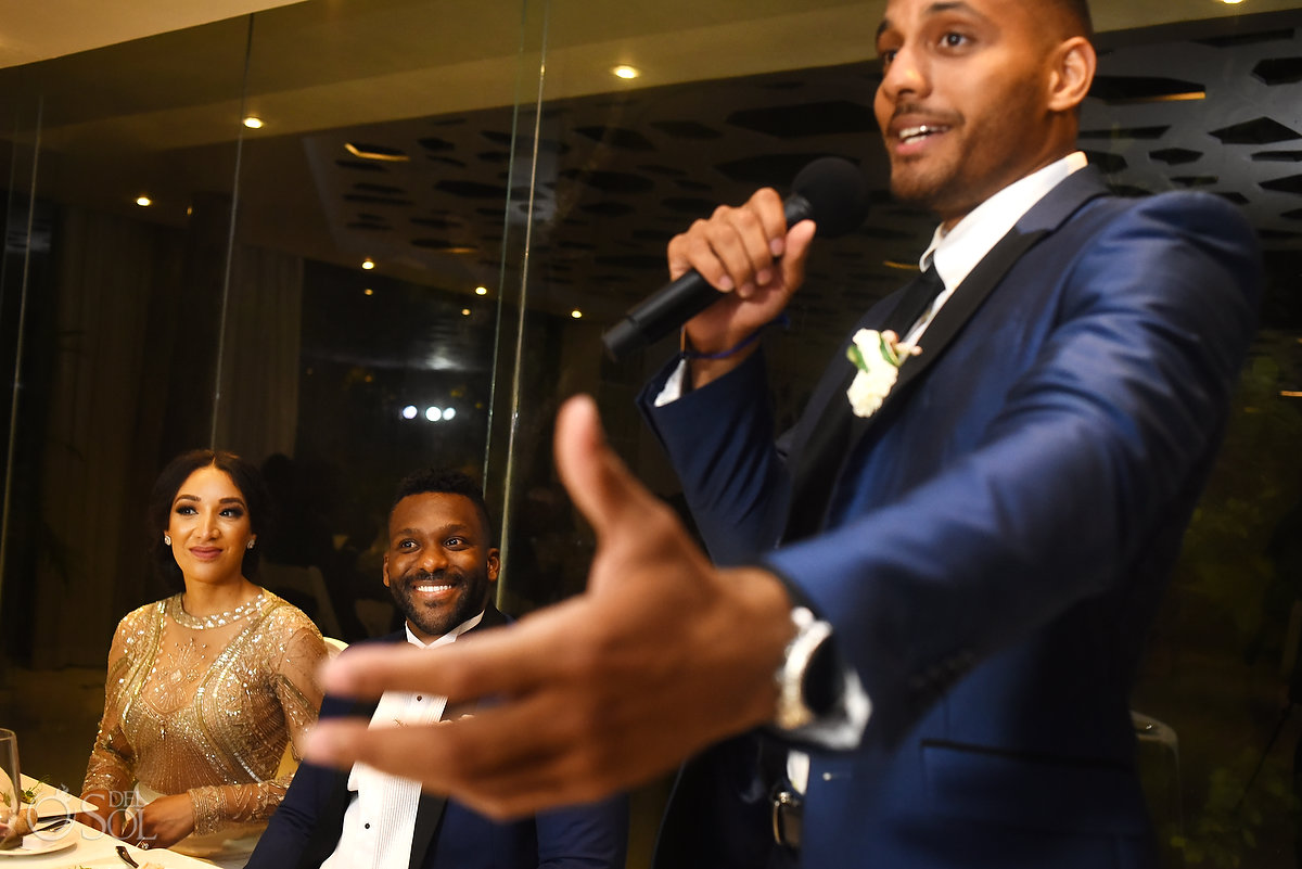 Best Expression Ever Amazing Groomsman Speech L'Fay Bridal Tulle Transparencies Embroidered Sparkling Stones Grooms A Suit That Fits Blue Dark Model Azul Fives Ball Room