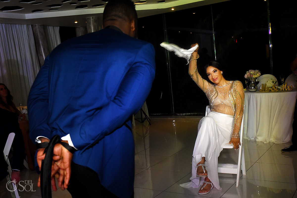 Taking Out Bride Garter L'Fay Bridal Tulle Transparencies Embroidered Sparkling Stones Grooms A Suit That Fits Blue Dark Model