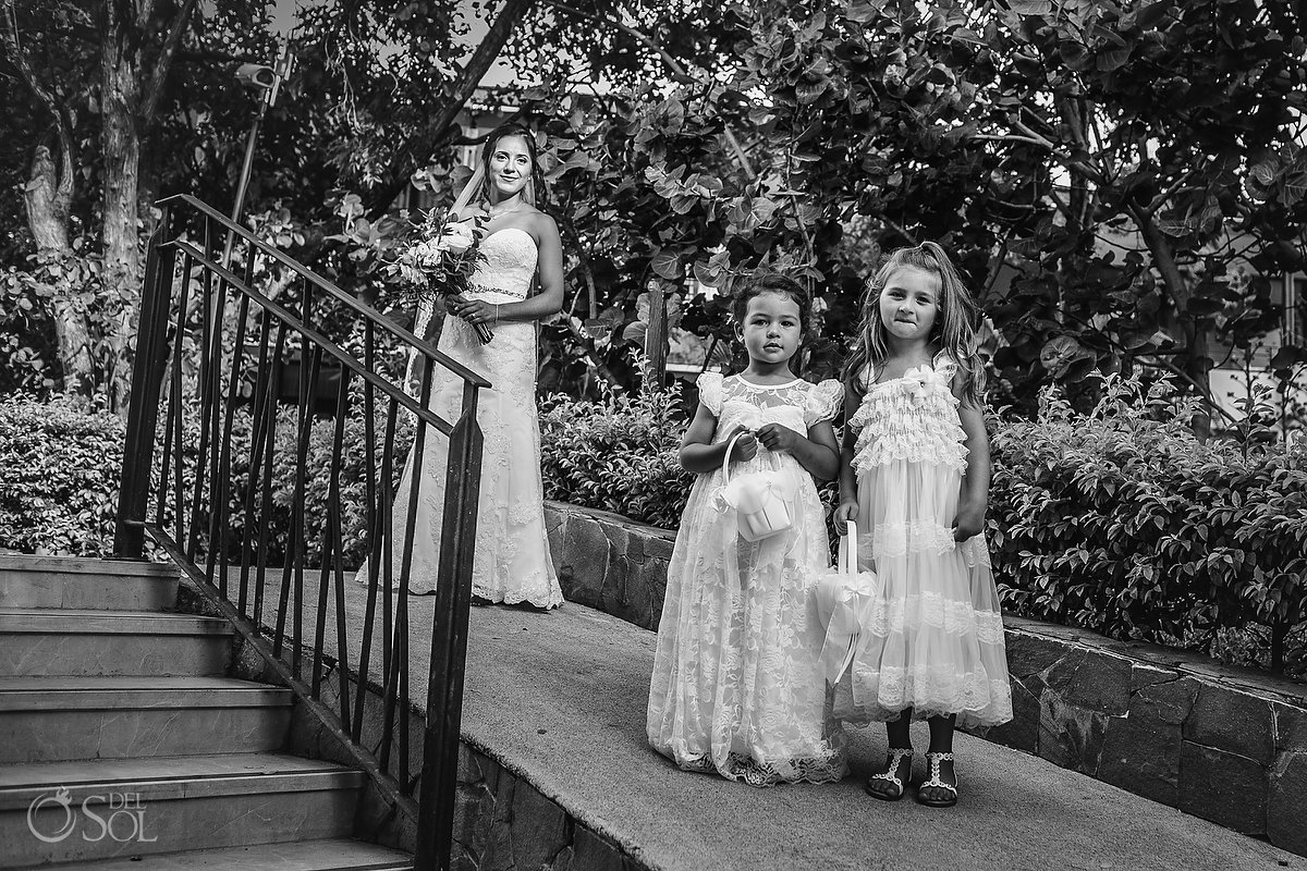 Dreams Las Mareas Wedding flower girls