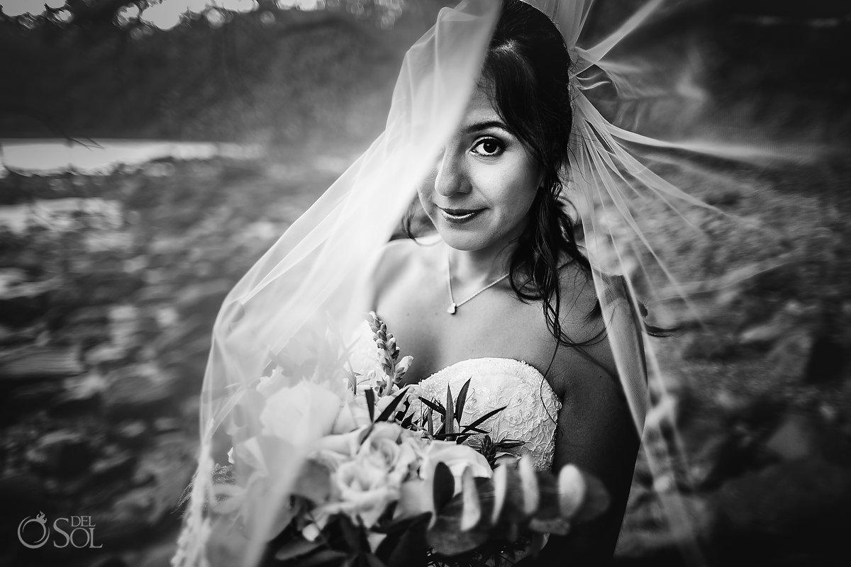 Dreams Las Mareas Wedding black and white bridal portrati