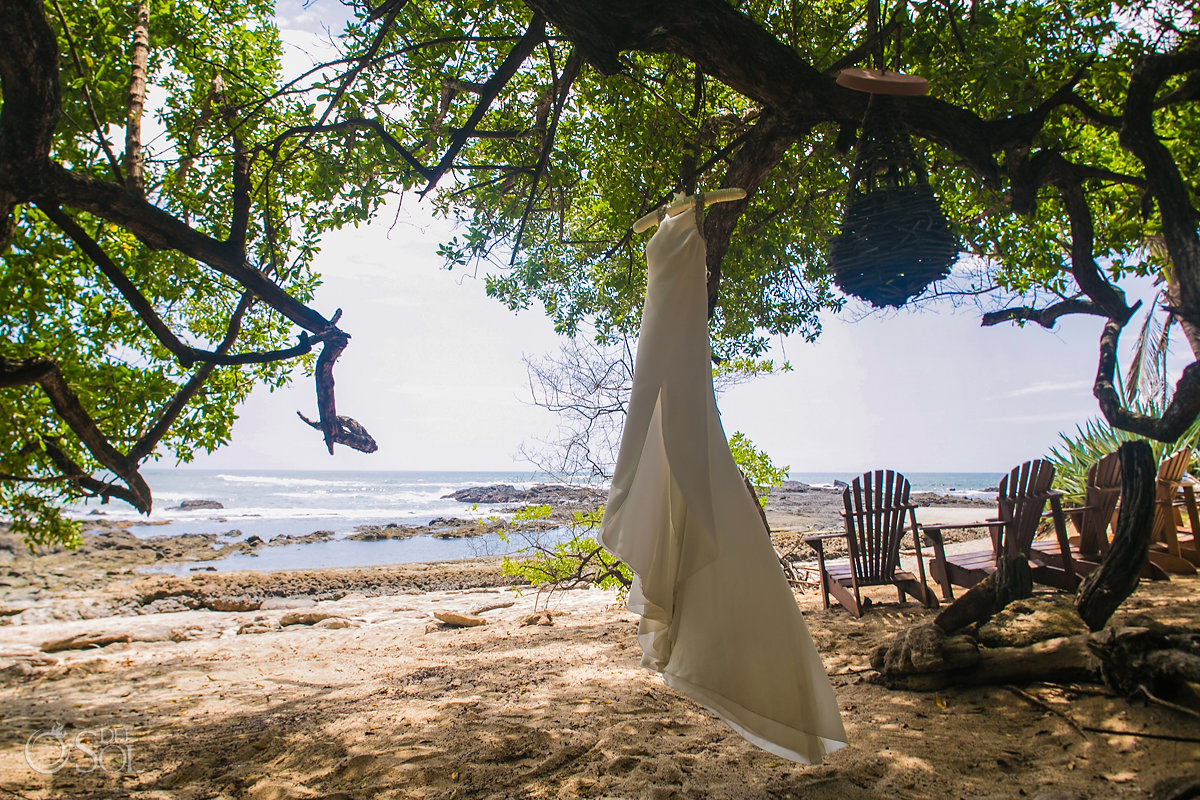Long silk Bridal Dress Playa Langosta Guanacaste Costa Rica Wedding
