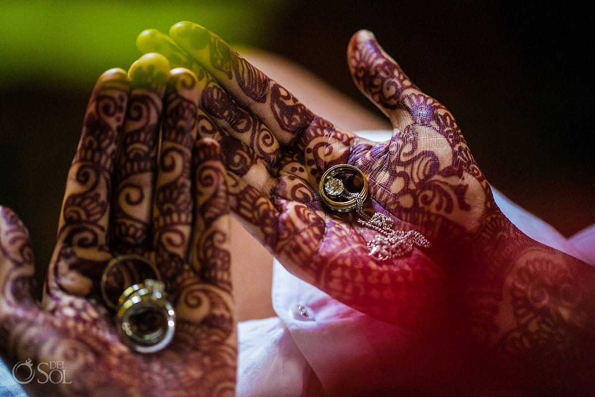Henna Mehndi hands and Wedding Rings