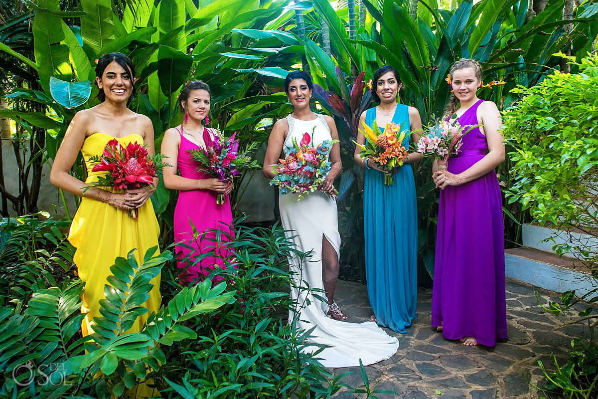 Tropical Colorful bridal party Tamarindo Costa Rica Wedding