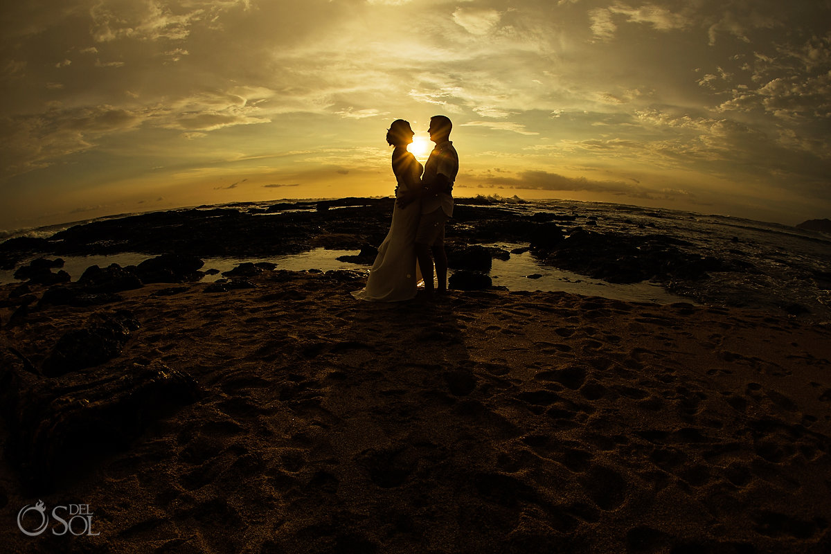 guanacaste costa rica Bride and Groom sunset silhouette