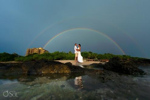 groom bride double sky rainbow tamarindo Guanacaste Costa Rica Wedding