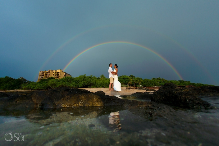 groom bride double sky rainbow tamarindo Guanacaste Costa Rica Wedding