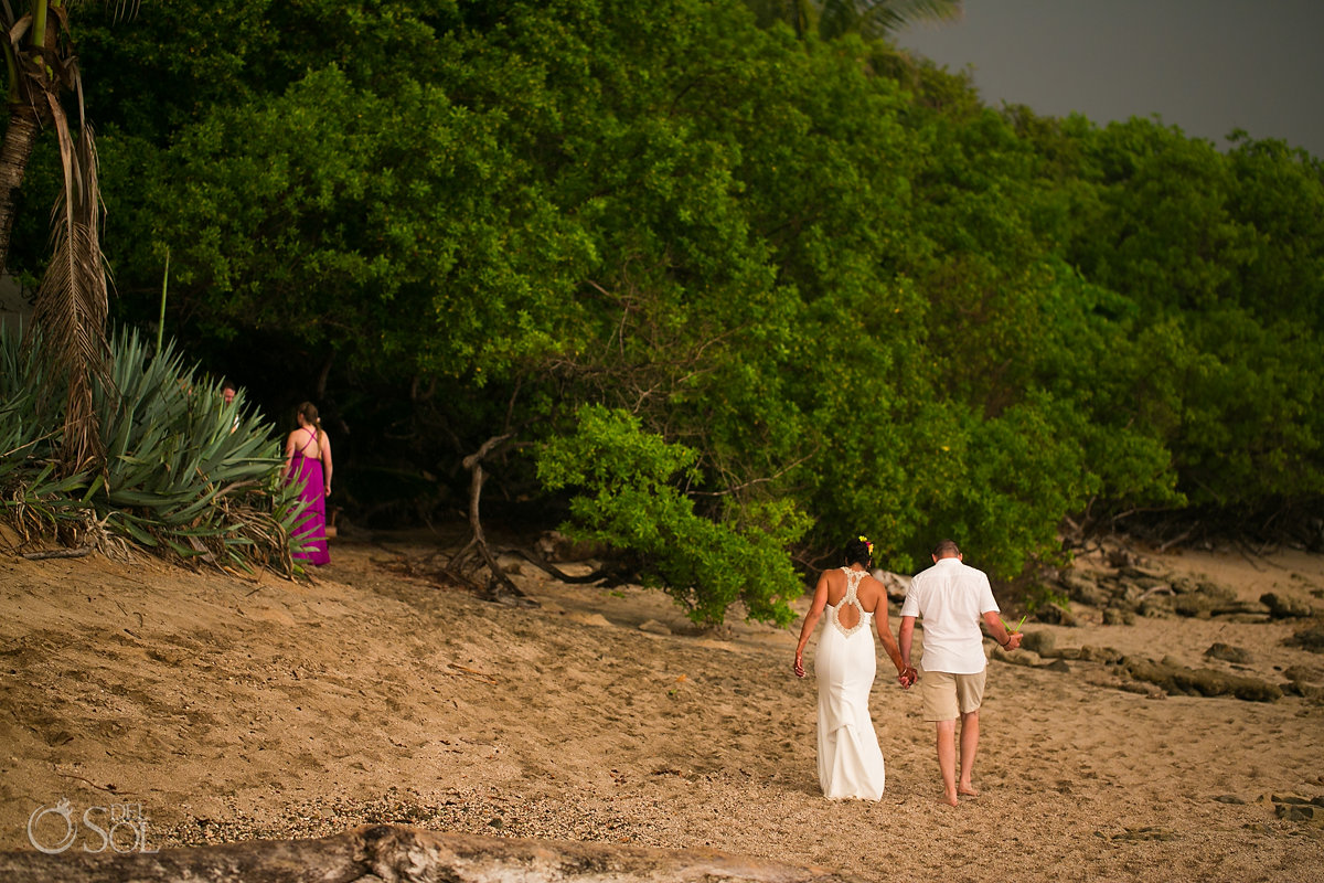 Bride and Groom walking in wild nature Guanacaste Costa Rica