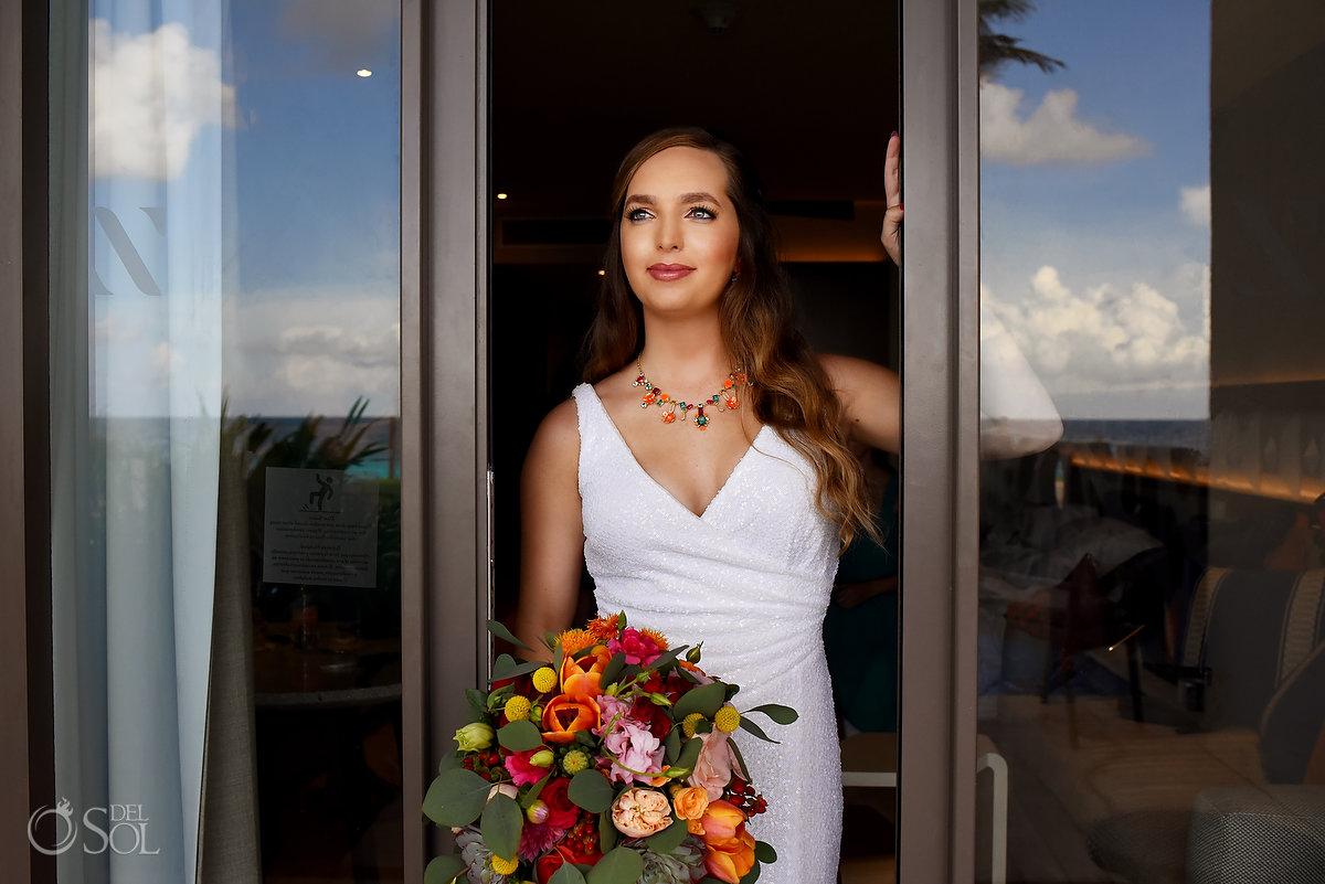 bride portrait Hyatt Ziva Cancun Fire Pits Wedding