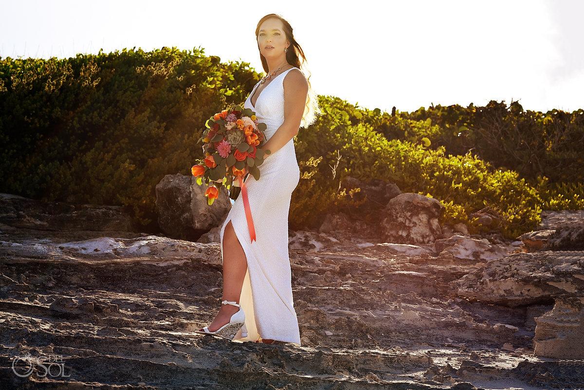 Hyatt Ziva Cancun Fire Pits Wedding bride portrait