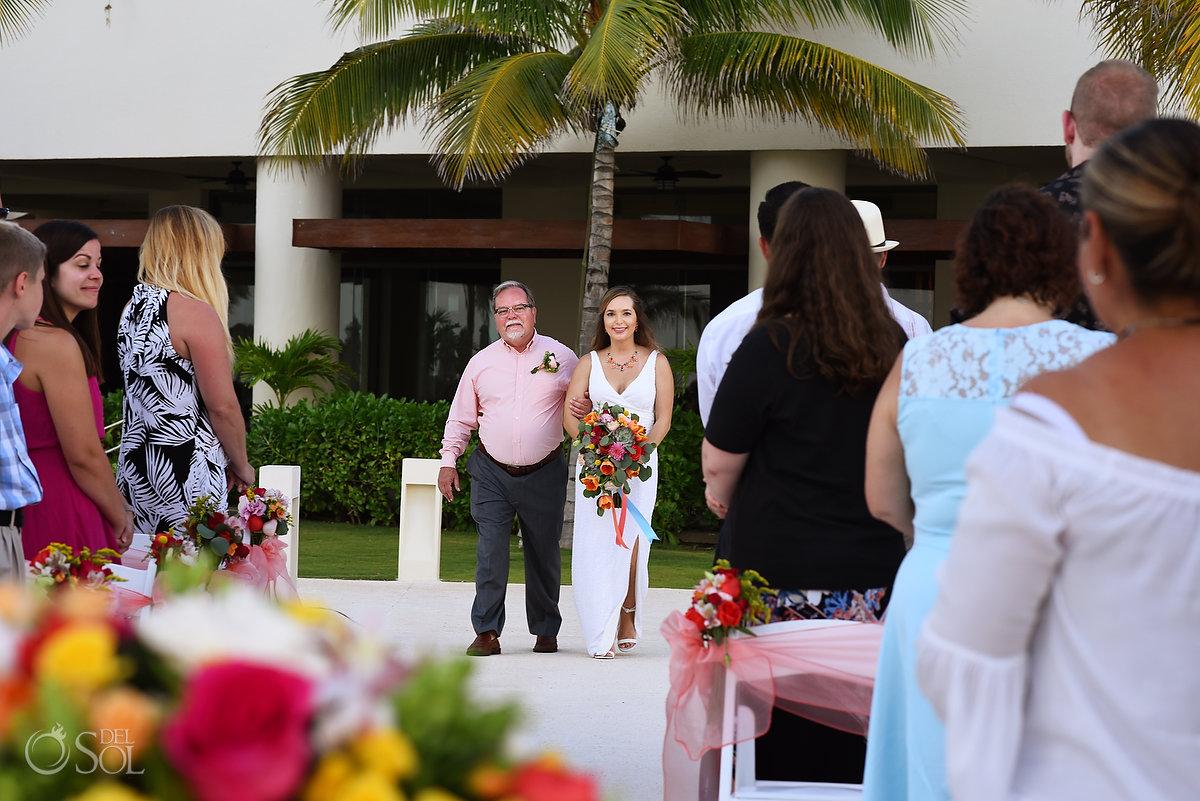 bride entrance Hyatt Ziva Cancun Fire Pits Wedding
