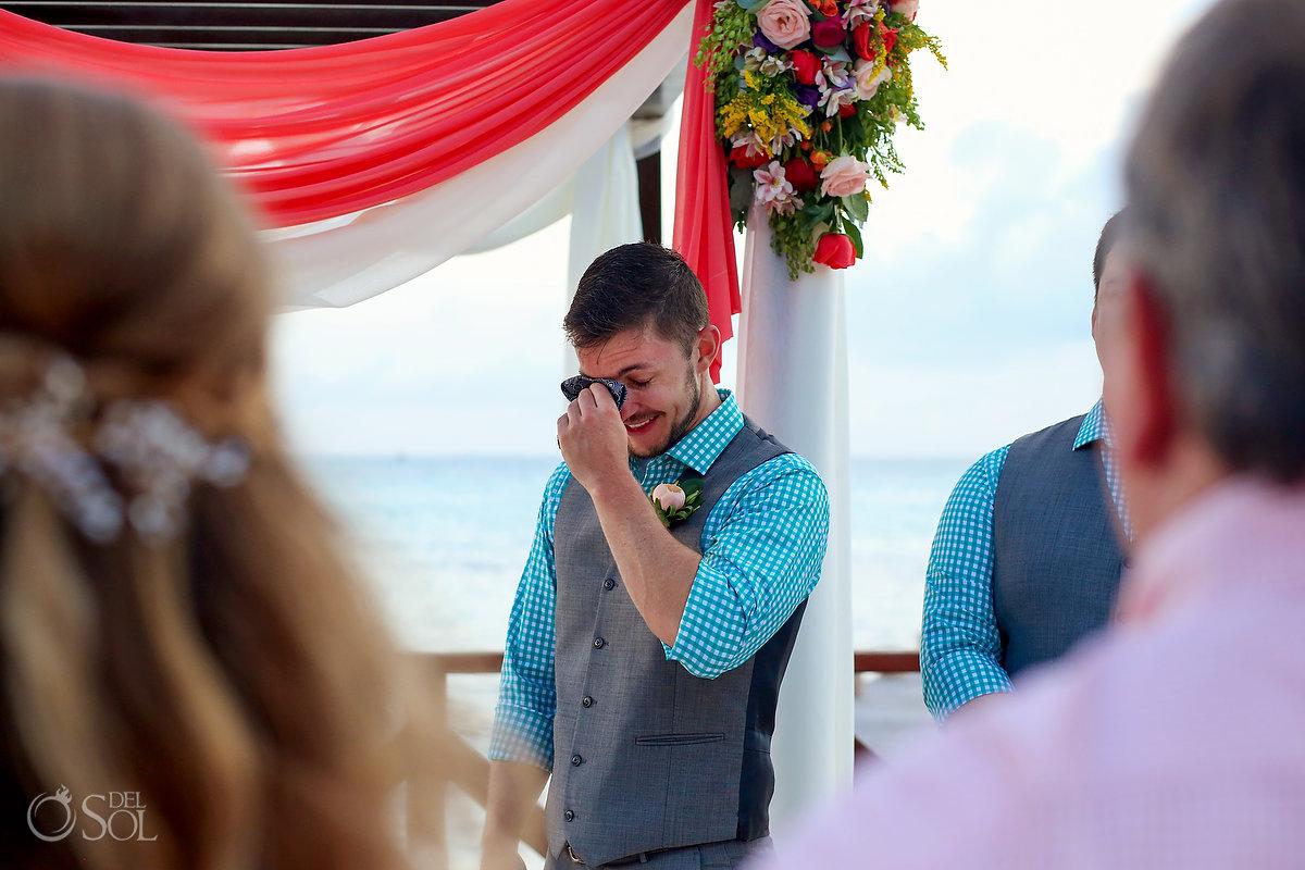 first look Hyatt Ziva Cancun Fire Pits Wedding