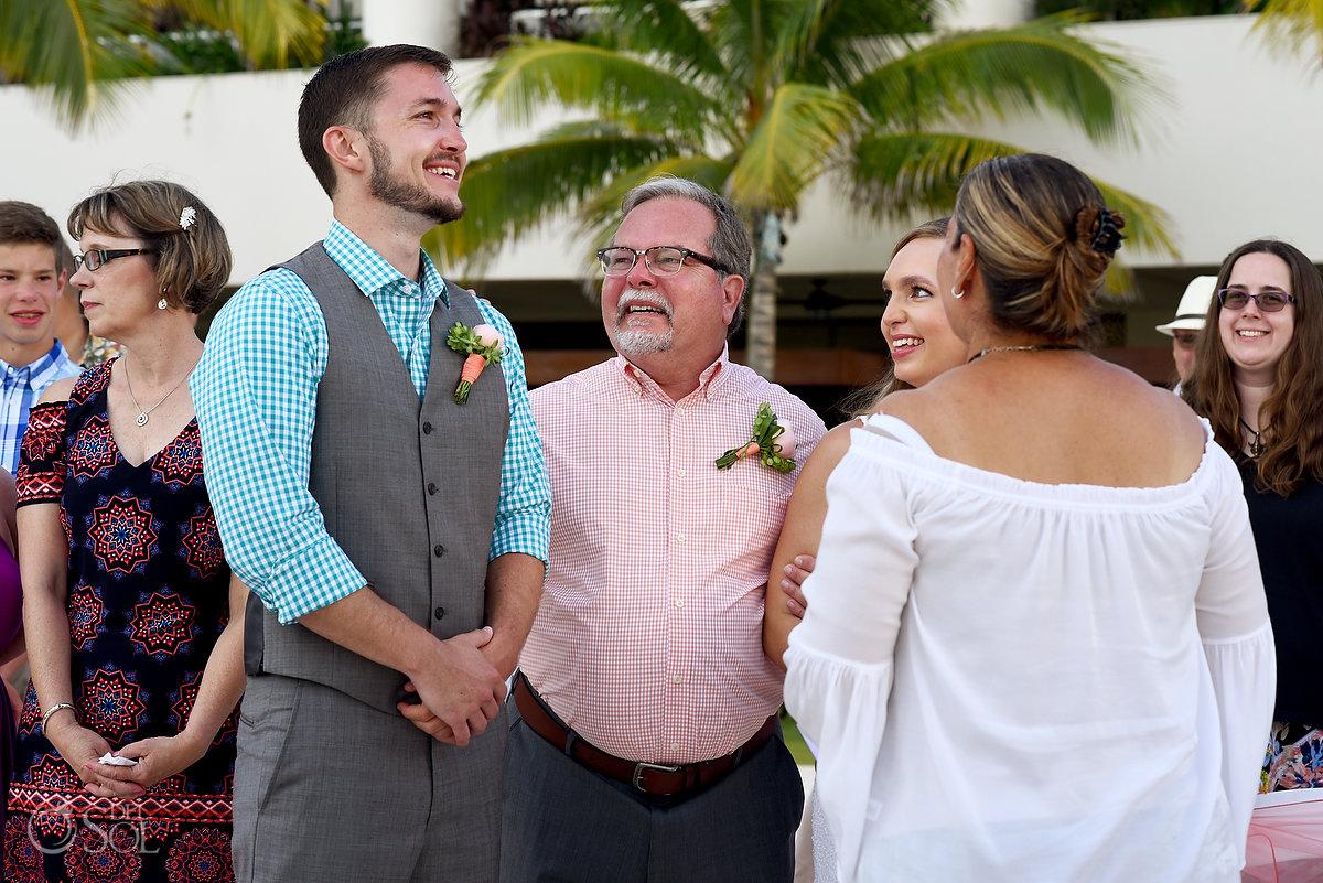 giving away the bride Hyatt Ziva Cancun Fire Pits Wedding