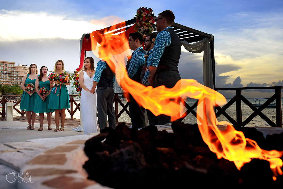 Hyatt Ziva Cancun Fire Pits Wedding