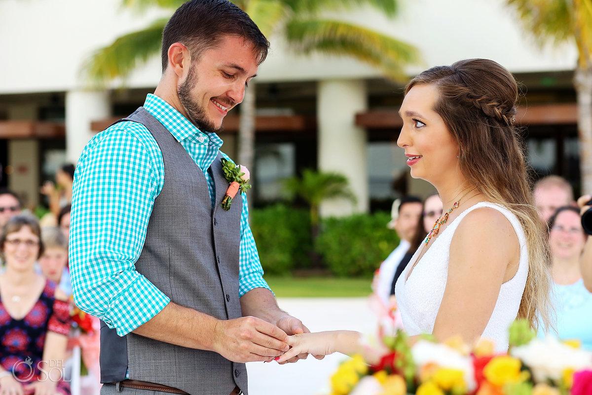 ring exchange Hyatt Ziva Cancun Fire Pits Wedding