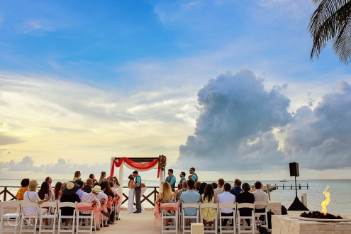 first kiss Hyatt Ziva Cancun Fire Pits Wedding
