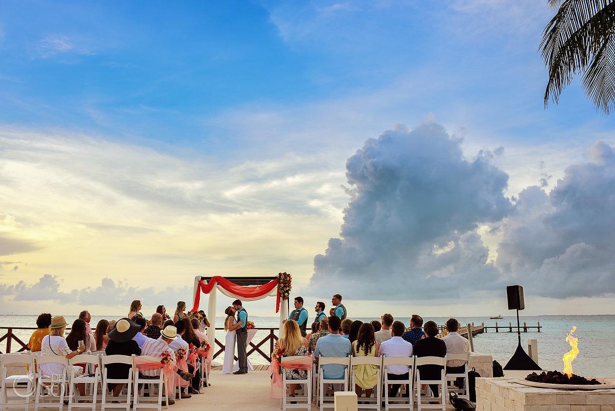 first kiss Hyatt Ziva Cancun Fire Pits Wedding