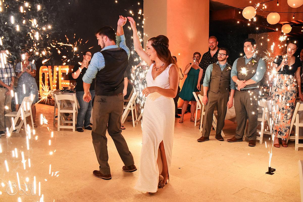 bride groom wedding reception entrance Hyatt Ziva Sky terrace