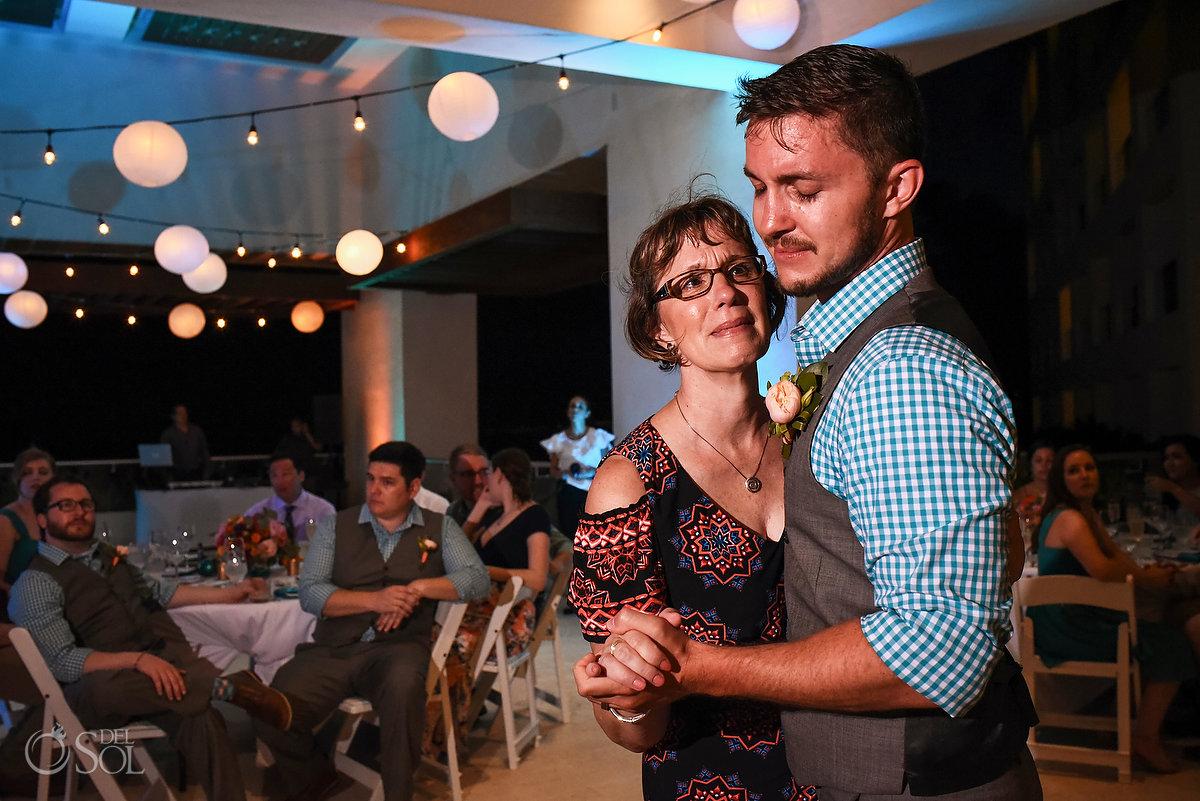 mother son first dance destination wedding reception Hyatt Ziva Sky terrace
