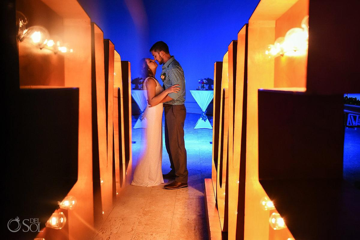 Couple portrait double love sign destination wedding reception Hyatt Ziva Sky terrace