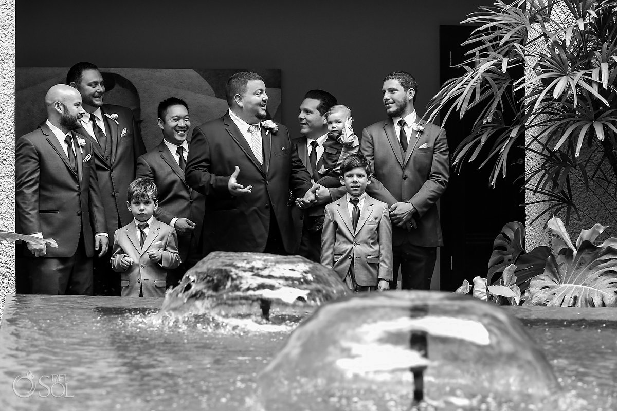 Black White Groom Party Portrait Paradisus Fountain Playa del Carmen, Mexico