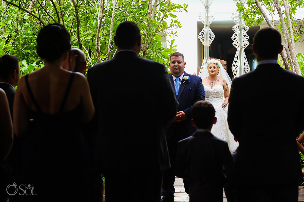 First Look Bride Entrance Wedding Party Documentary Moment Paradisus Playa del Carmen
