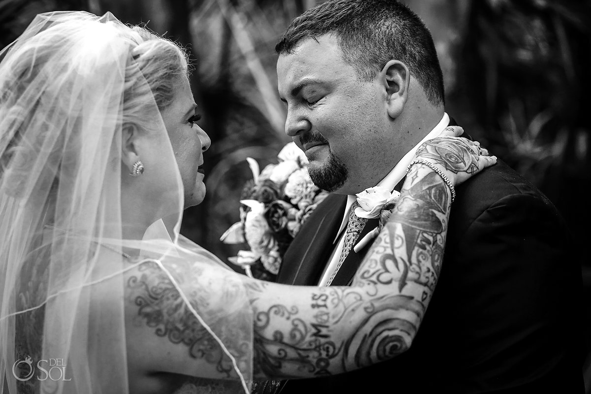 Black White First Look Emotional Groom Tattooed Bride Documentary Photography Playa del Carmen