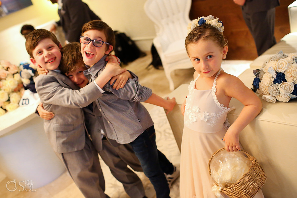 Cute Flower Girl Kids Playing Around Paradisus Jewish Wedding