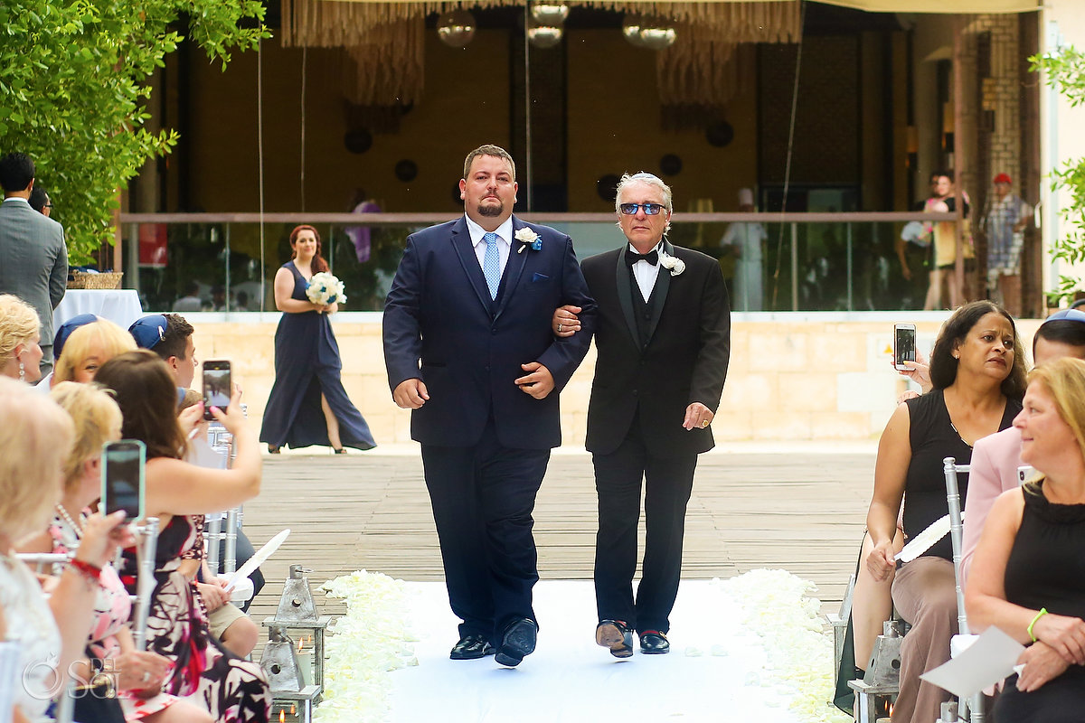 Father Groom Jewish Wedding Entrance Walk Chuppah Paradisus Playa del Carmen Mexico