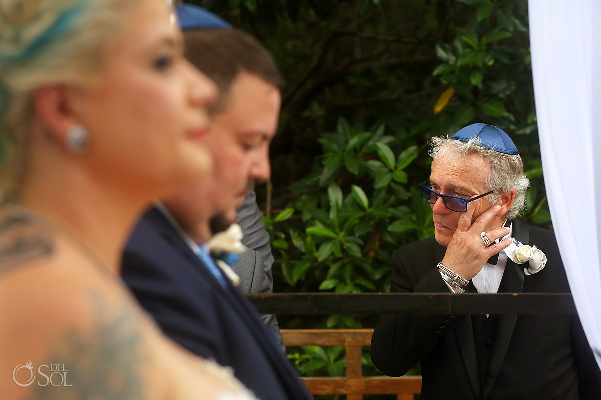 Emotional Groom Dad Tears Moment Chuppah Jewish Traditional Wedding Paradisus Playa del Carmen