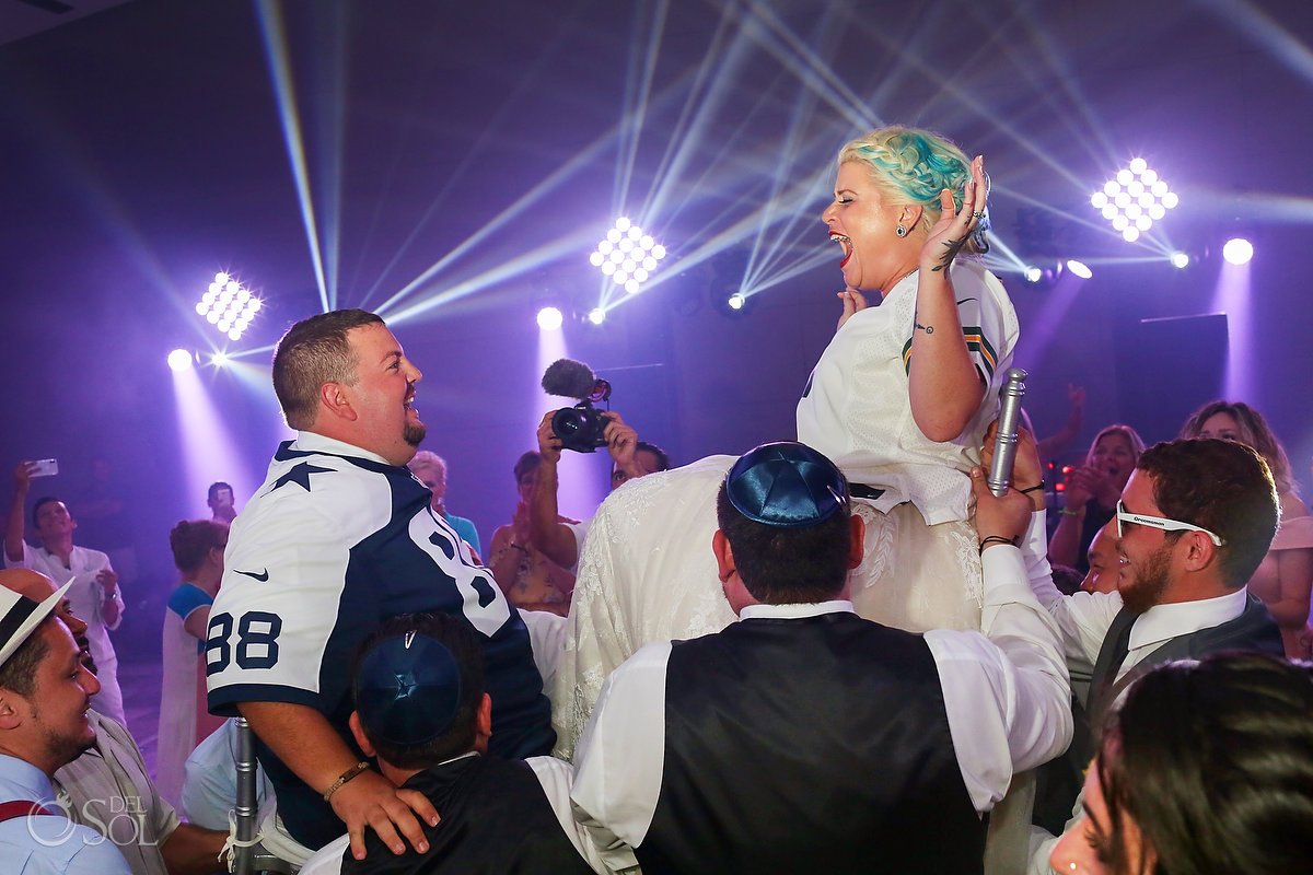The Hora Jewish Traditional Chair Dance Anniversary Date Shirts Rock and Roll Newlyweds Reception Paradisus Playa del Carmen Ballroom