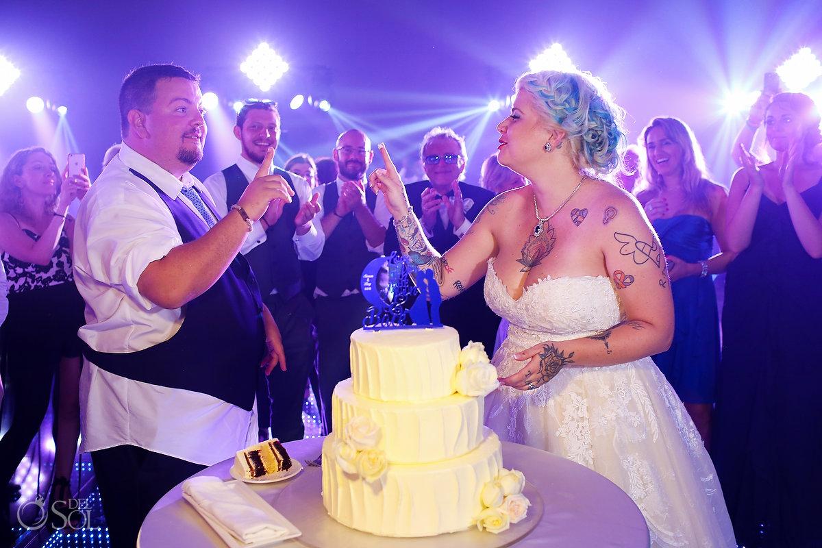 Newlyweds Cutting Cake Paradisus Playa del Carmen Ballroom Colorful Lights