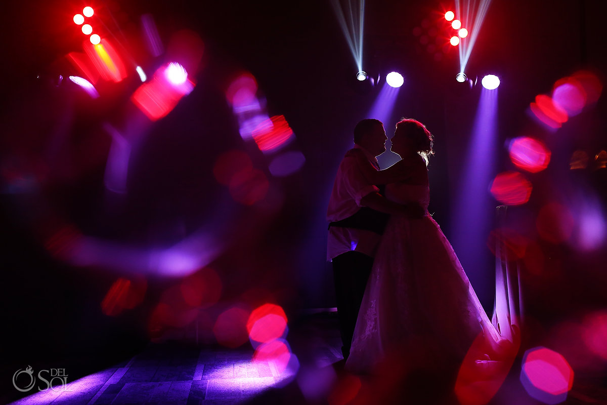 Artistic Newlyweds Dance Photography Paradisus Playa del Carmen Ballroom Colorful Lights