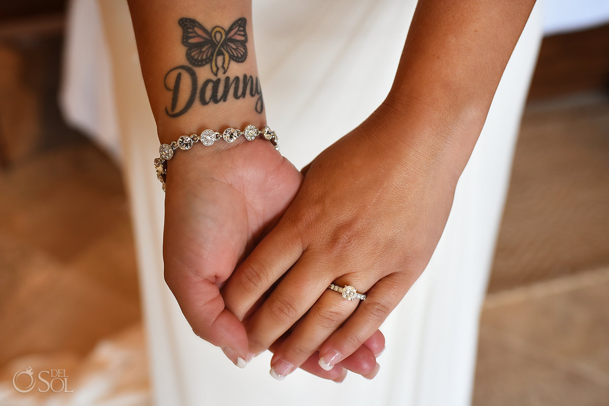 Brides Tattoo Detail Photo Engagement Ring Holding Hands