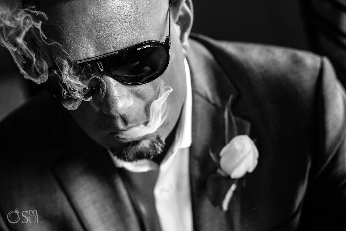 Getting Ready Dramatic Black White Groom Portrait Carrera Polarized Glasses Smoking Shot