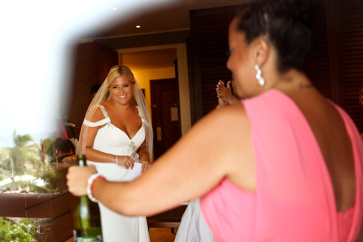 Getting Ready Maggie Sotero Embroidery Wedding Dress Vail Champagne Cork Bride Party