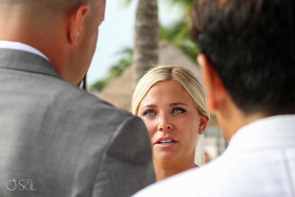Emotional Bride Beautiful Vows Tears Secrets Maroma Beach Wedding Playa del Carmen Mexico