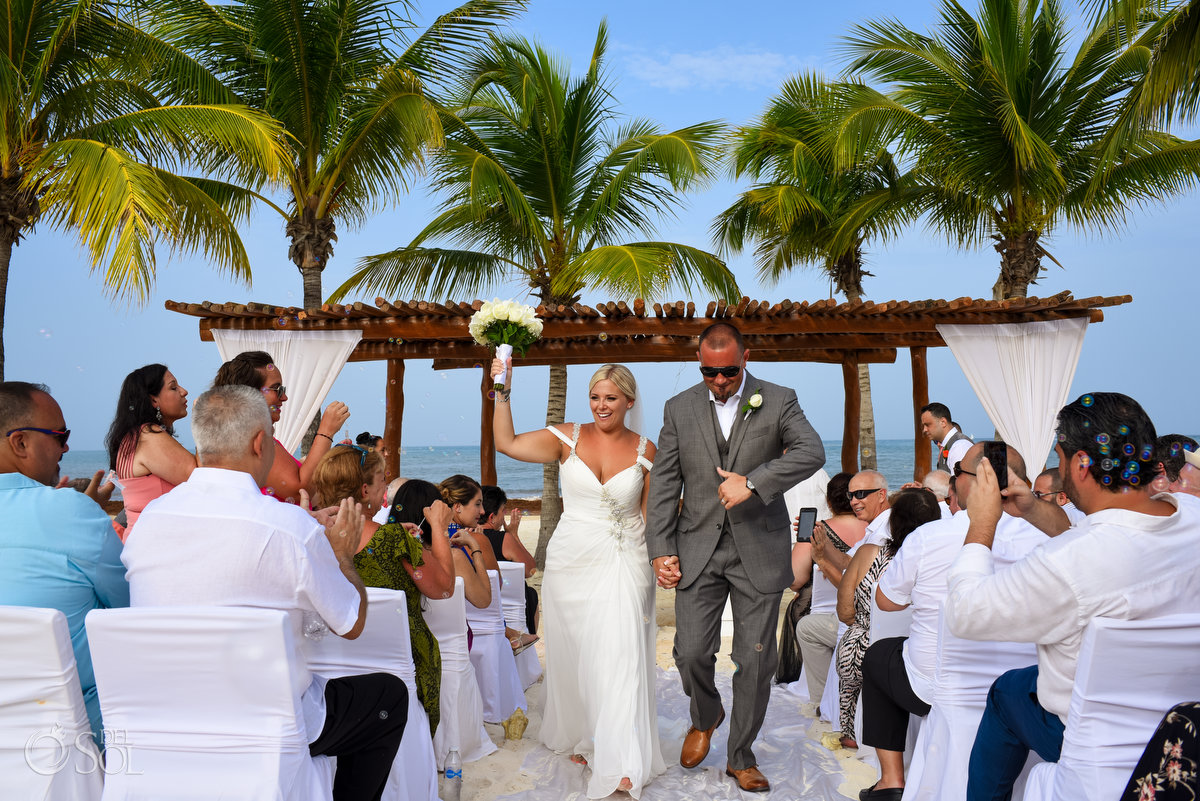 Just Married Happy Moment Newlyweds Departure Secrets Maroma Beach Wedding