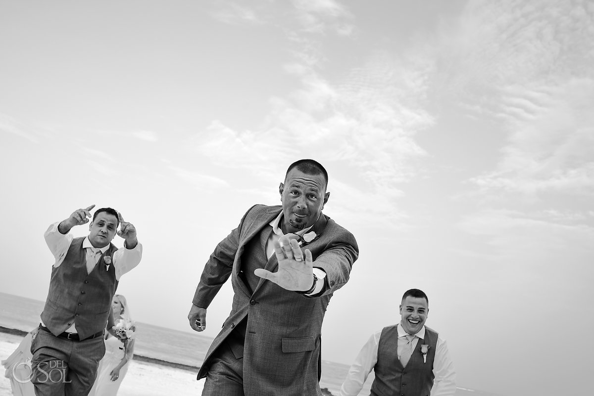 Documentary Black White Groom Party Running Fun Portrait Session Cool Guys