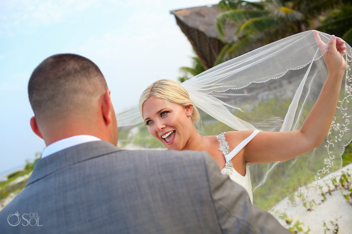 Happy Newlyweds Portrait Funny Bride Playing Vail Wings Simulation