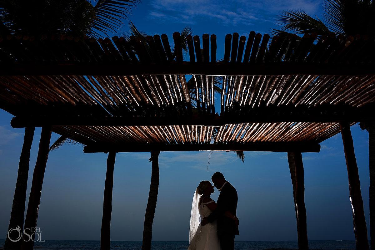 Newlyweds Silhouette Portrait Sticks Gazebo Secrets Maroma Beach Wedding Playa del Carmen Mexico
